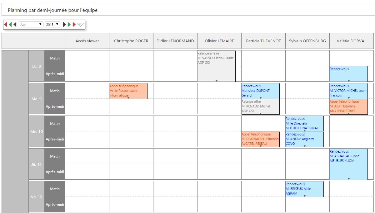 Exemple de planning pour une équipe