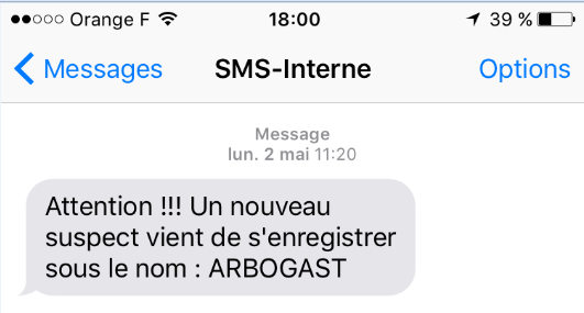 Exemple de notification par SMS
