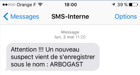 Exemple de notification par SMS
