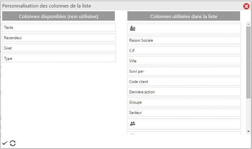 Exemple de choix de colonnes pour un utilisateur